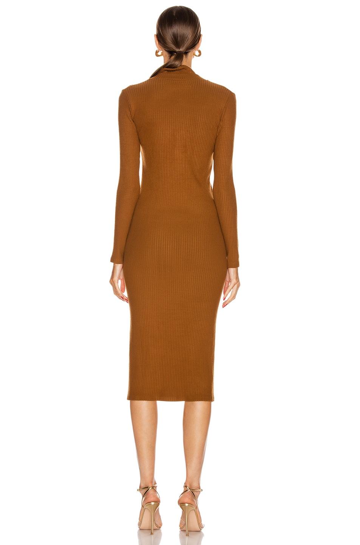 Image 3 of Enza Costa Rib Long Sleeve Step Hem Henley Dress in Cognac