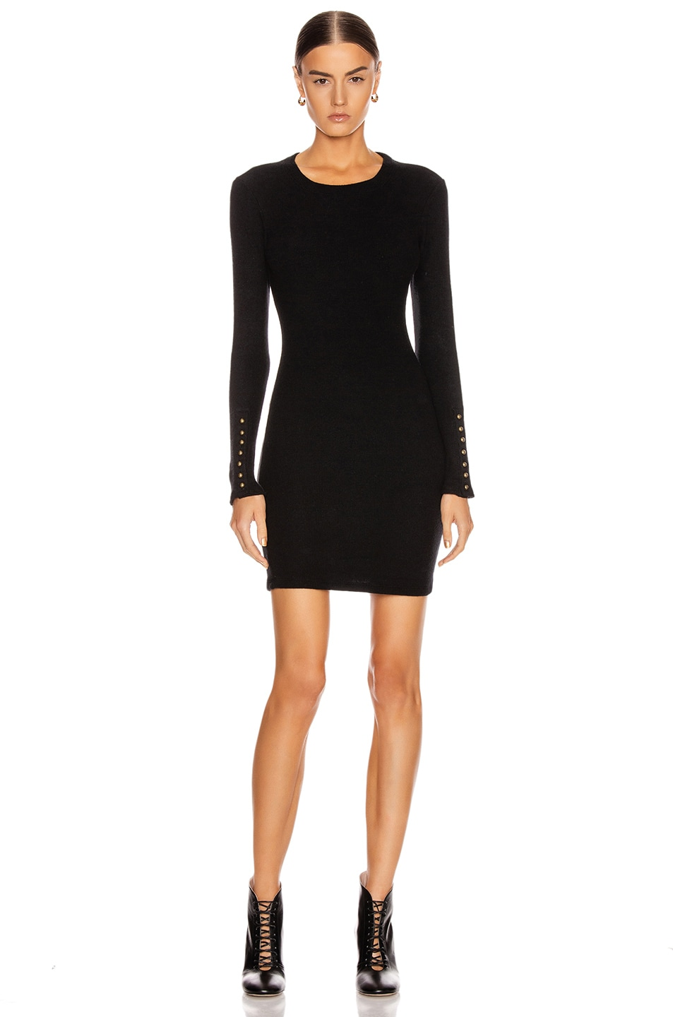 Image 1 of Enza Costa Sweater Knit Button Cuff Mini Dress in Black