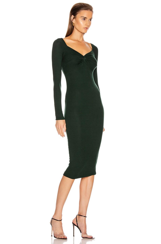 Image 2 of Enza Costa Rib Off Shoulder Twist Midi Dress in Evergreen
