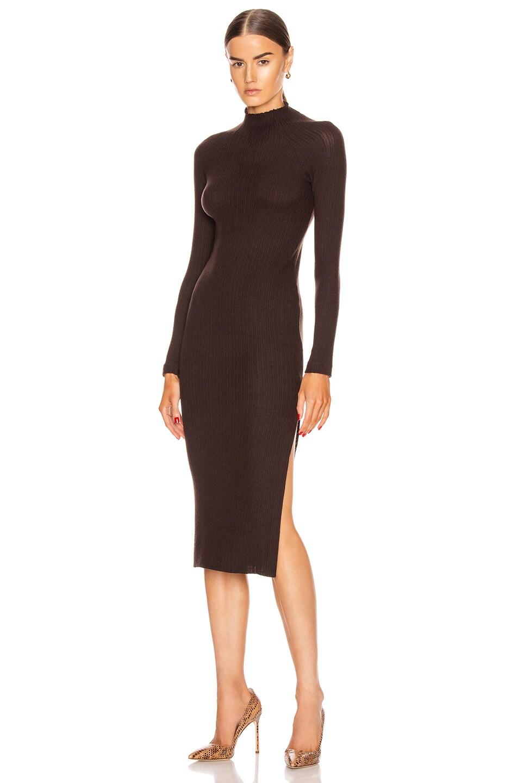 Image 1 of Enza Costa Brushed Rib Long Sleeve Raglan Midi Dress in Bitter Brown