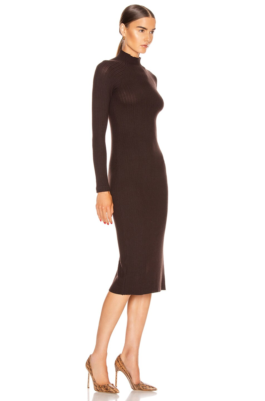 Image 2 of Enza Costa Brushed Rib Long Sleeve Raglan Midi Dress in Bitter Brown
