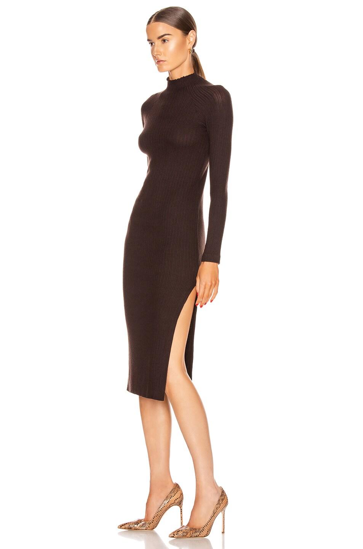 Image 3 of Enza Costa Brushed Rib Long Sleeve Raglan Midi Dress in Bitter Brown