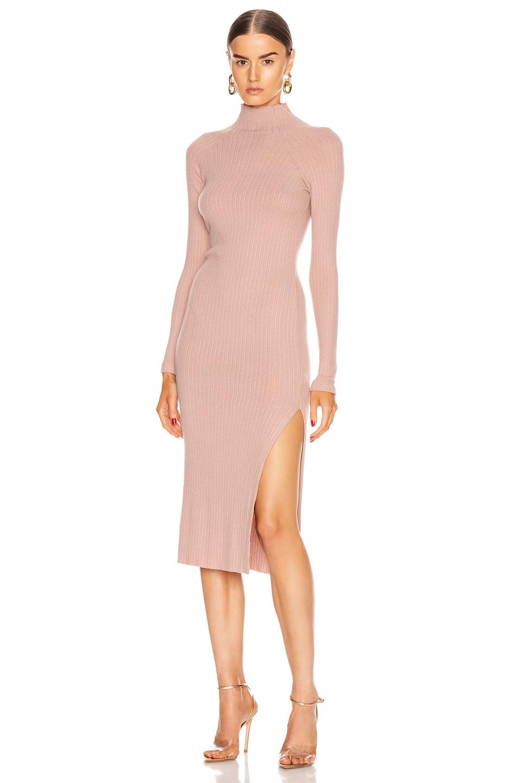 Image 1 of Enza Costa Brushed Rib Long Sleeve Raglan Midi Dress in Plastic Pink