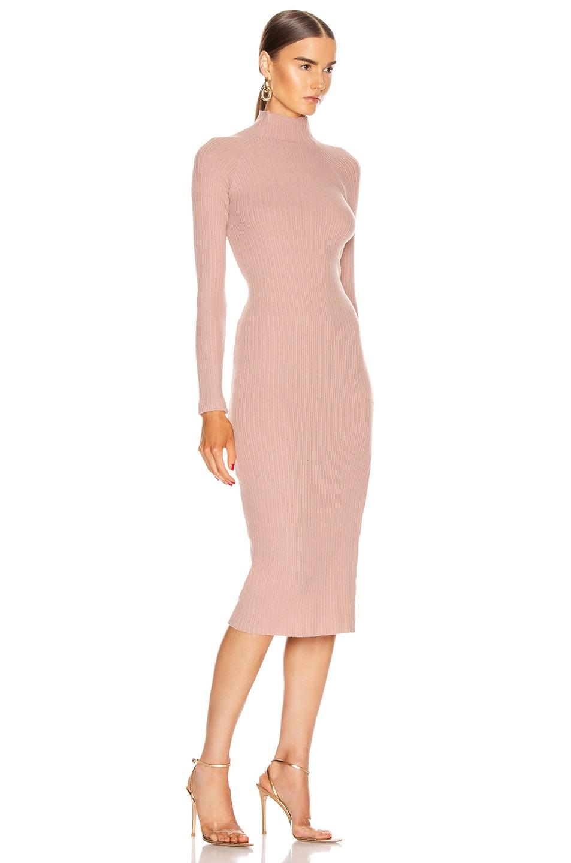 Image 2 of Enza Costa Brushed Rib Long Sleeve Raglan Midi Dress in Plastic Pink