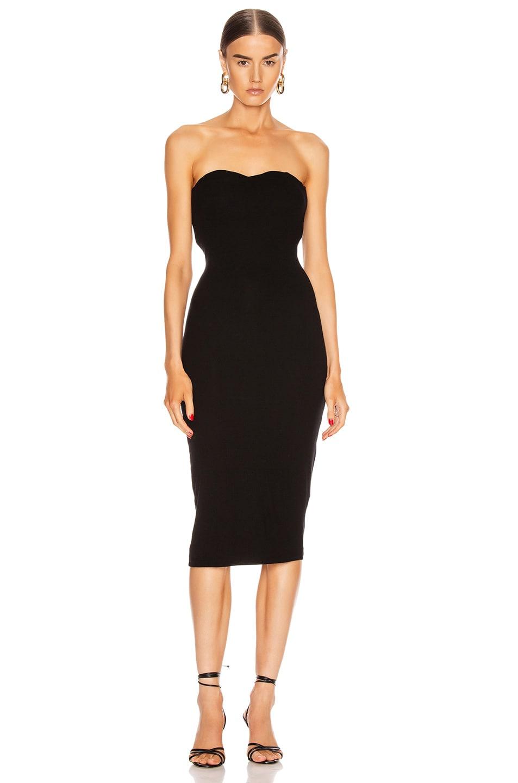 Image 1 of Enza Costa Silk Rib Strapless Sweetheart Midi Dress in Black