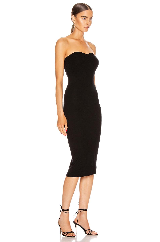 Image 2 of Enza Costa Silk Rib Strapless Sweetheart Midi Dress in Black