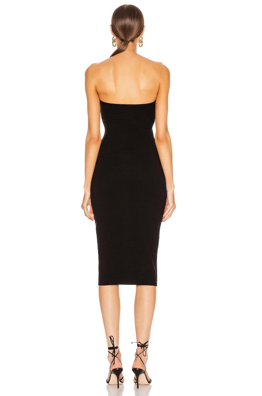 Image 3 of Enza Costa Silk Rib Strapless Sweetheart Midi Dress in Black