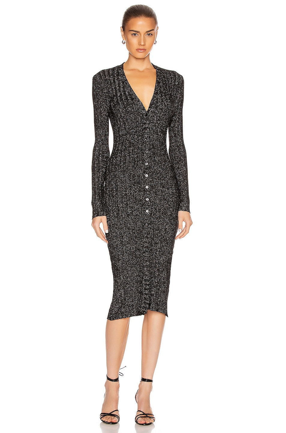 Image 1 of Enza Costa Lurex Rib Long Sleeve Cardigan Midi Dress in Black & Silver