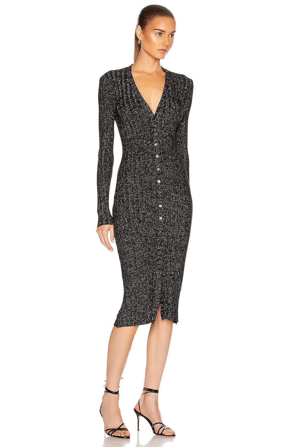 Image 2 of Enza Costa Lurex Rib Long Sleeve Cardigan Midi Dress in Black & Silver