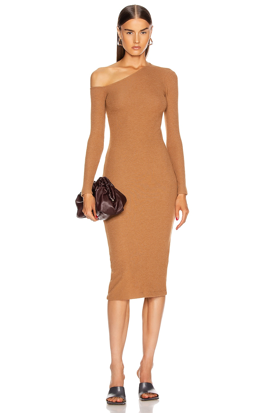 Image 1 of Enza Costa Sweater Knit Angled Neck Midi Dress in Amber