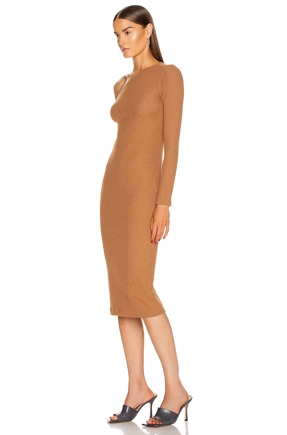 Image 3 of Enza Costa Sweater Knit Angled Neck Midi Dress in Amber
