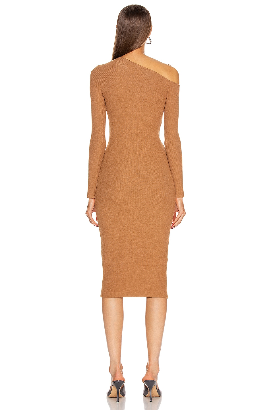 Image 4 of Enza Costa Sweater Knit Angled Neck Midi Dress in Amber