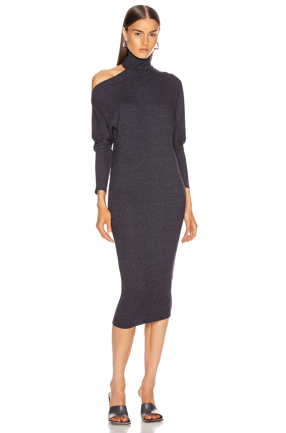 Image 1 of Enza Costa Heather Rib Exposed Shoulder Mock Midi Dress in Ink