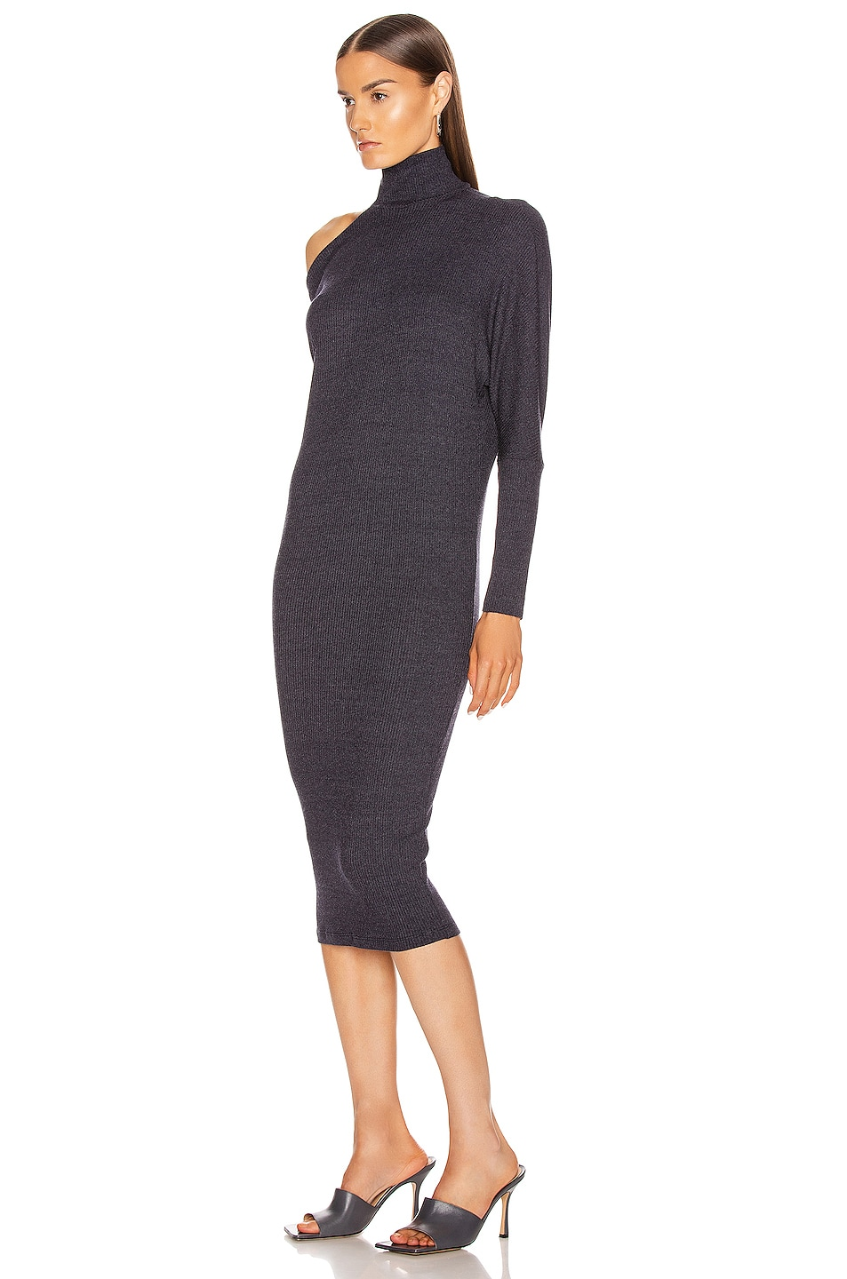 Image 3 of Enza Costa Heather Rib Exposed Shoulder Mock Midi Dress in Ink