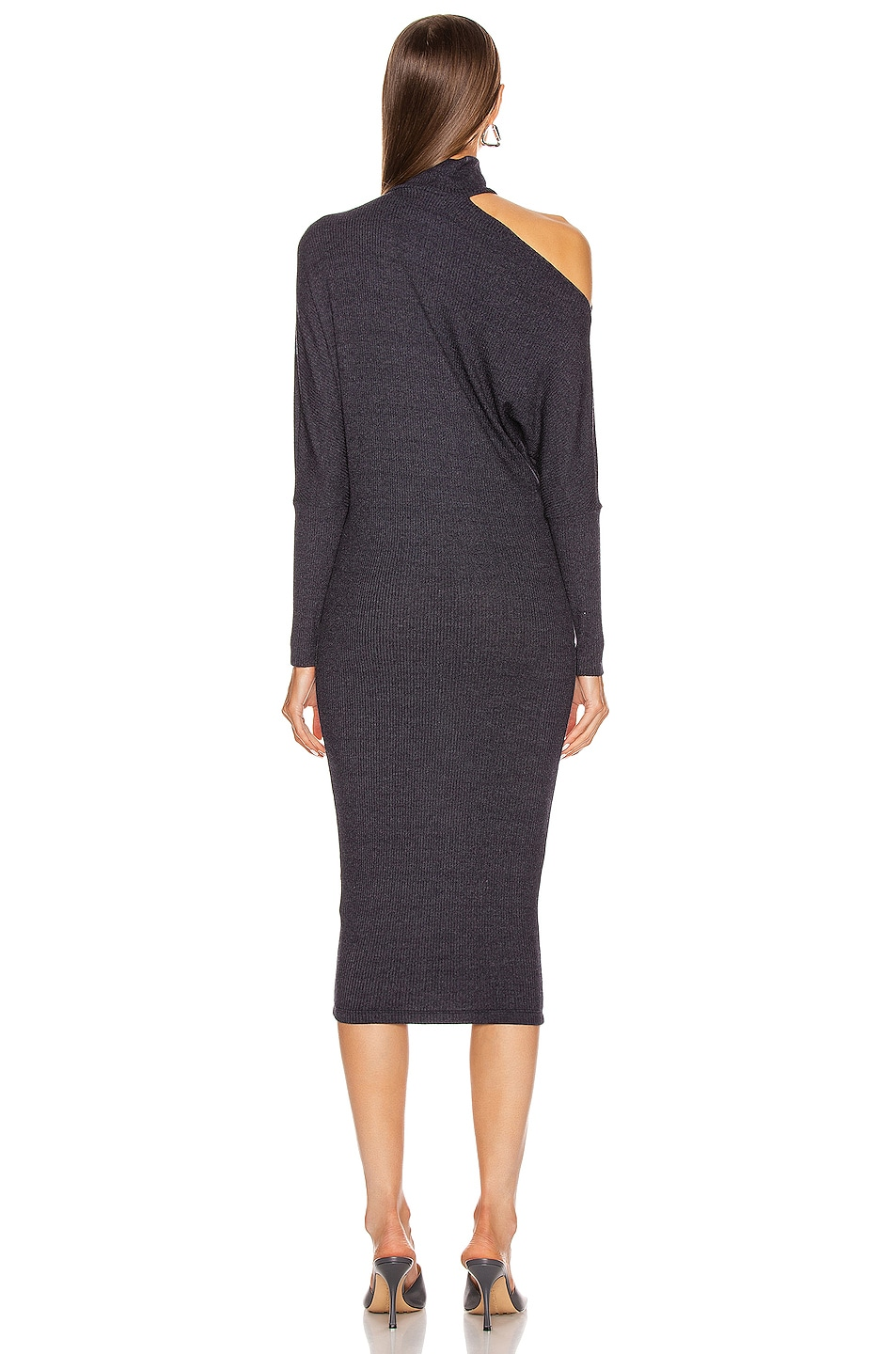Image 4 of Enza Costa Heather Rib Exposed Shoulder Mock Midi Dress in Ink