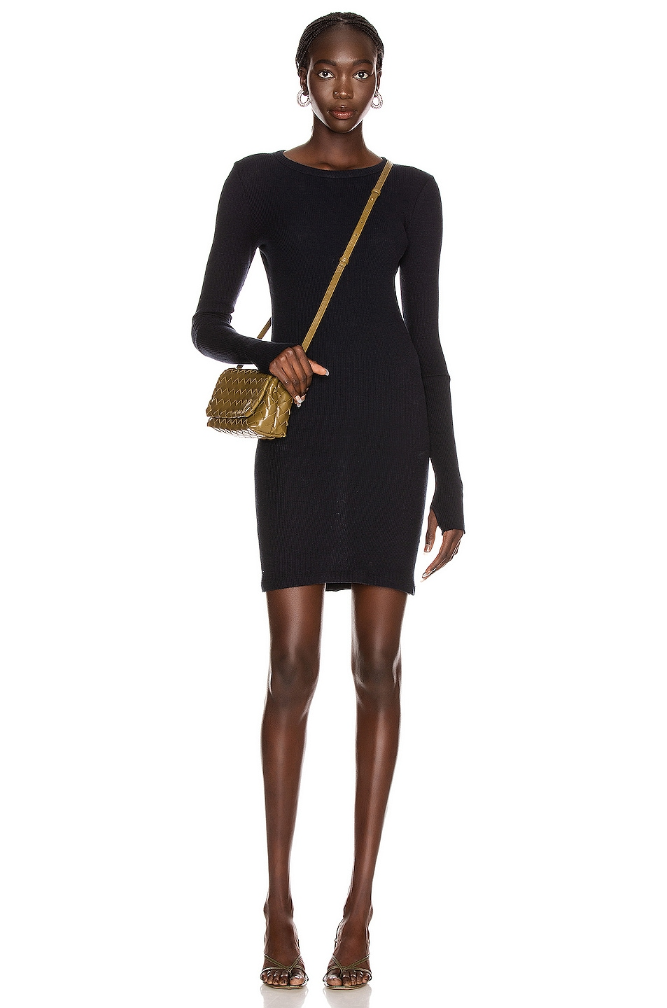 Image 1 of Enza Costa Cashmere Thermal Cuffed Mini Dress in Cadet
