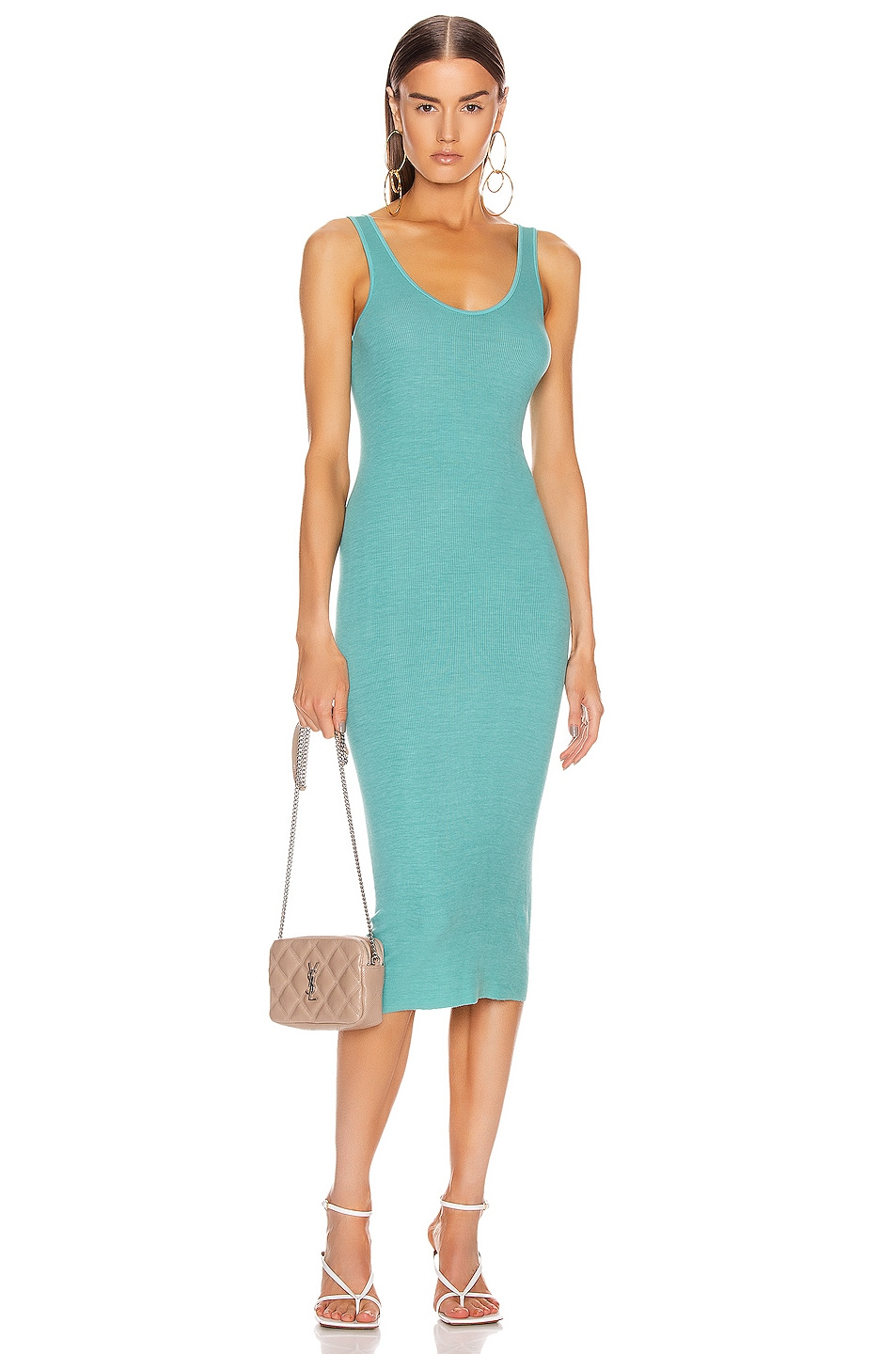 Image 1 of Enza Costa Silk Rib Tank Midi Dress in Quiet Wave