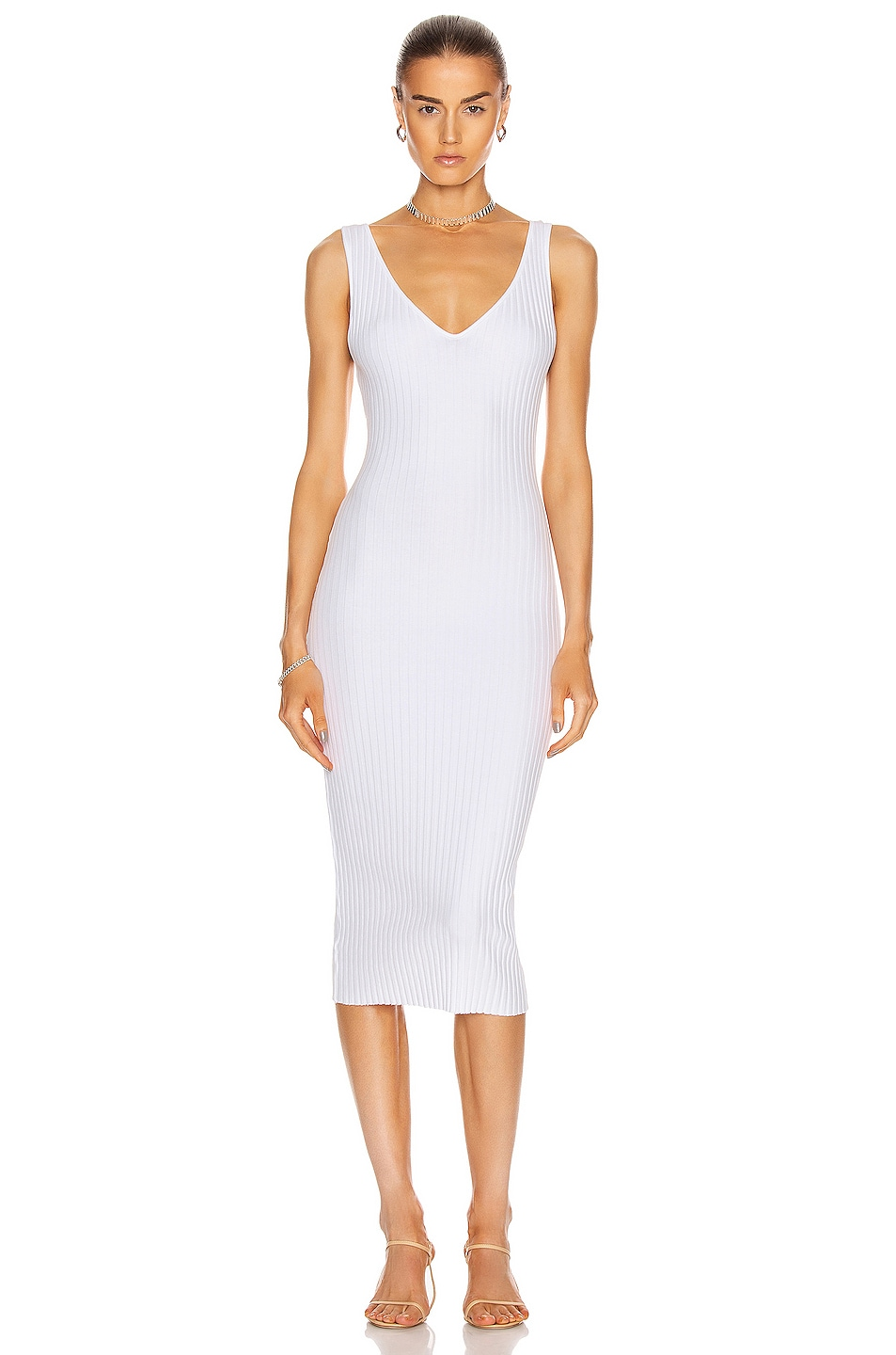 Image 1 of Enza Costa for FWRD Mini Rib Sweater Knit Tank Midi Dress in White