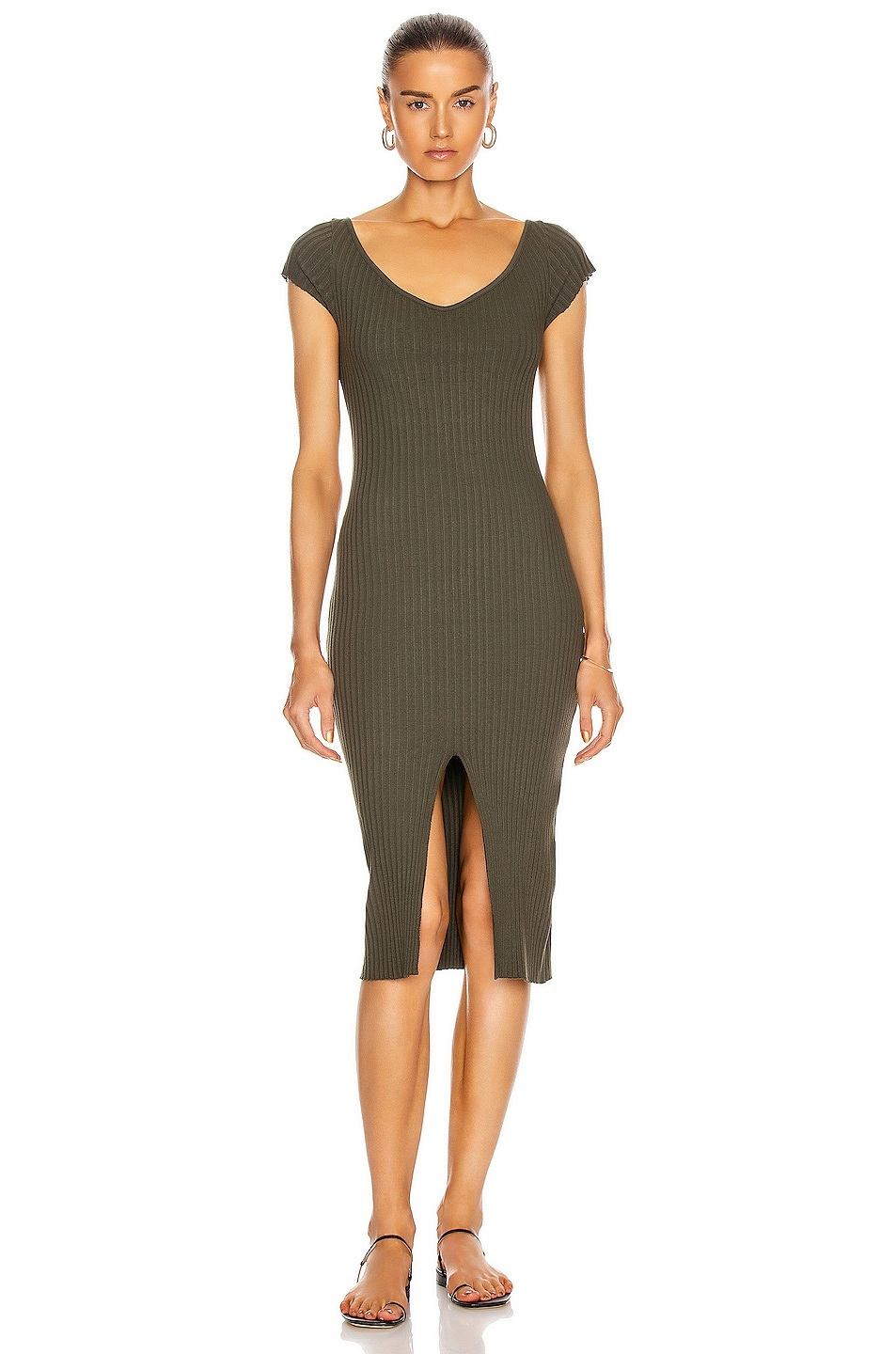 Image 1 of Enza Costa Rib Sweater Knit Soft V Cap Sleeve Midi Dress in Uniform Green