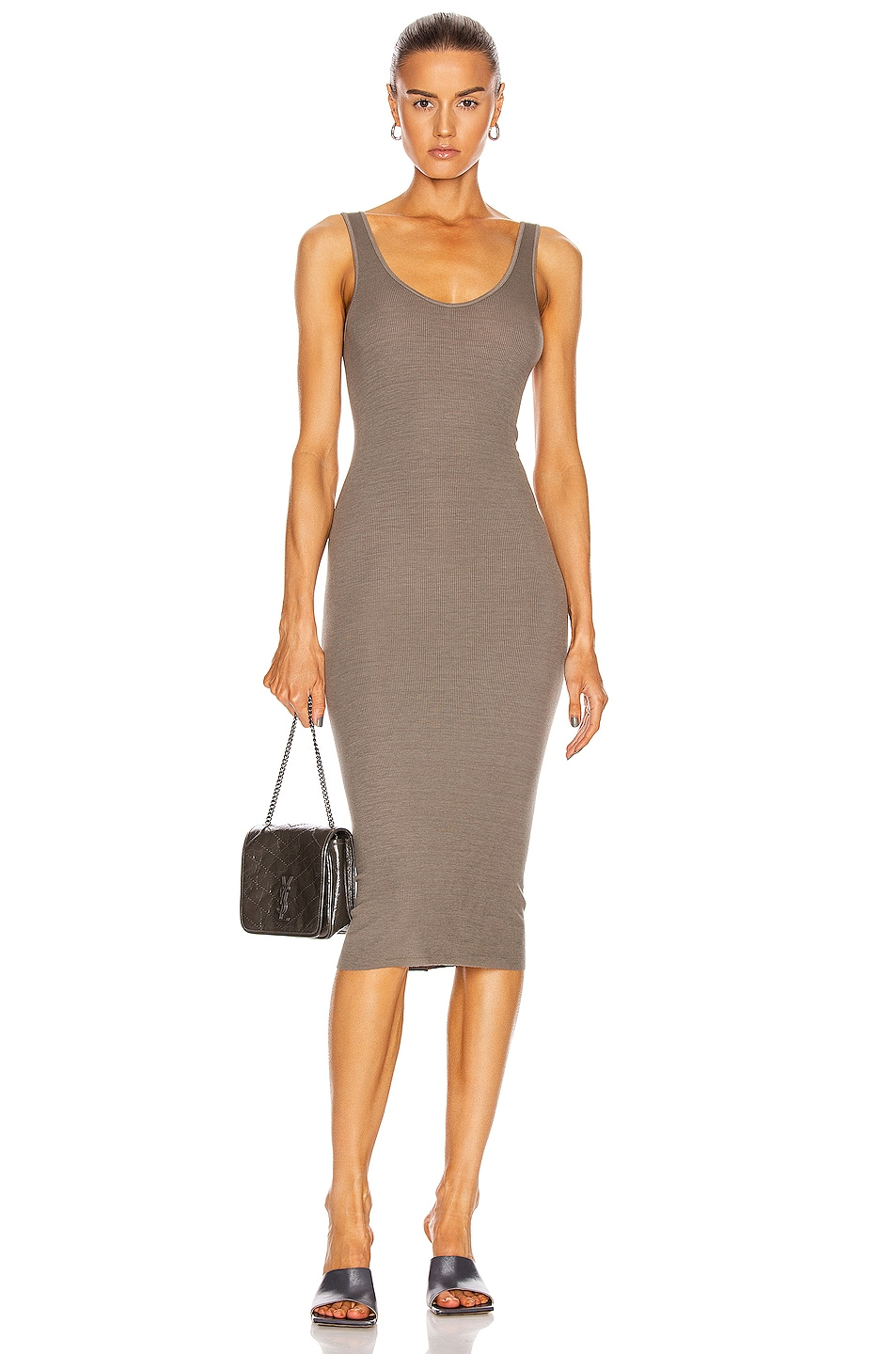 Image 1 of Enza Costa Silk Rib Tank Midi Dress in Dark Sage