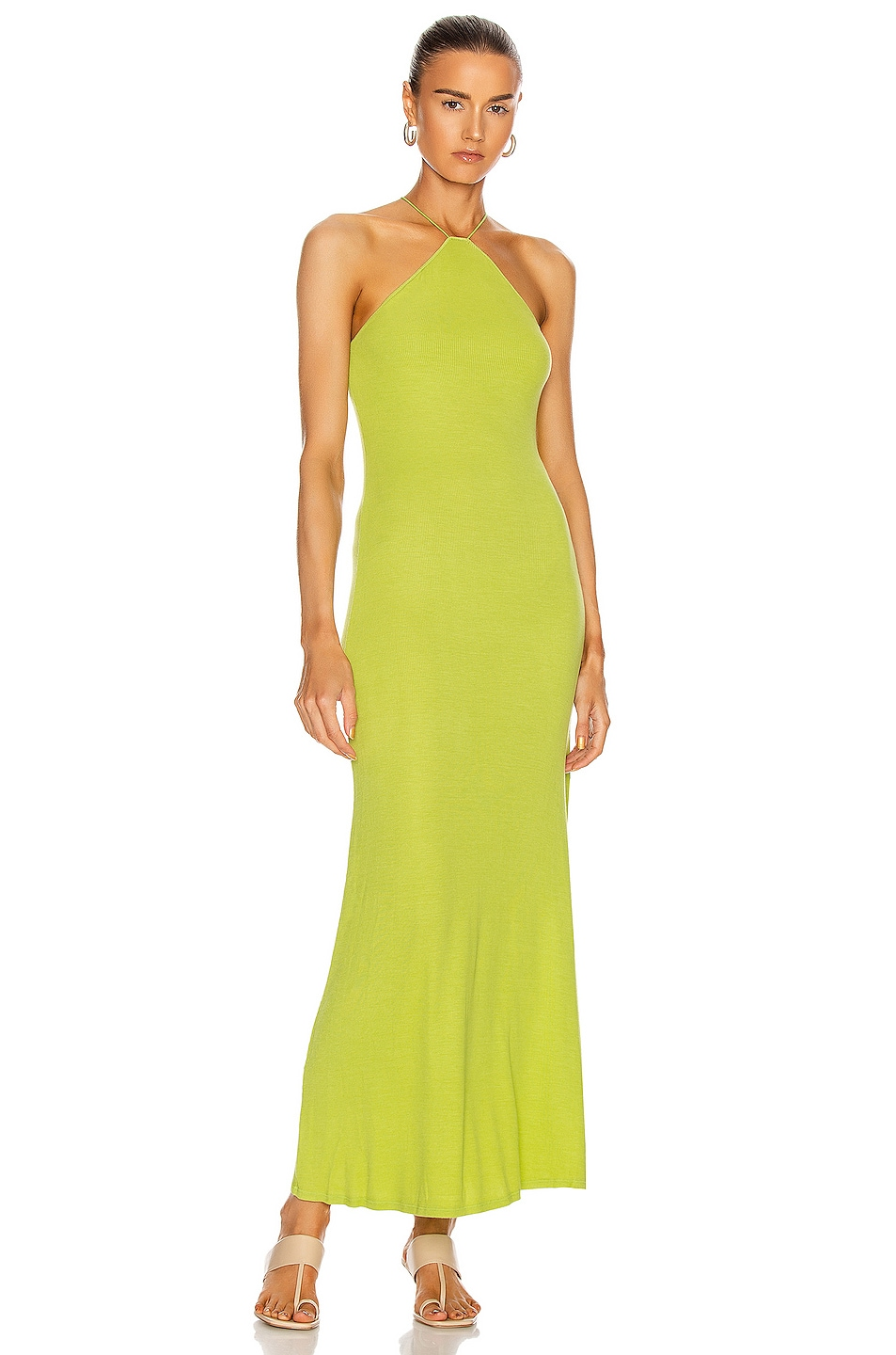 Image 1 of Enza Costa for FWRD Silk Rib Halter Fitted Ankle Dress in Lime