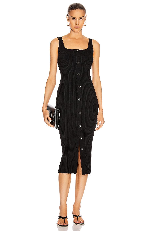 Image 1 of Enza Costa Military Cotton Rib Button Front Midi Dress in Black