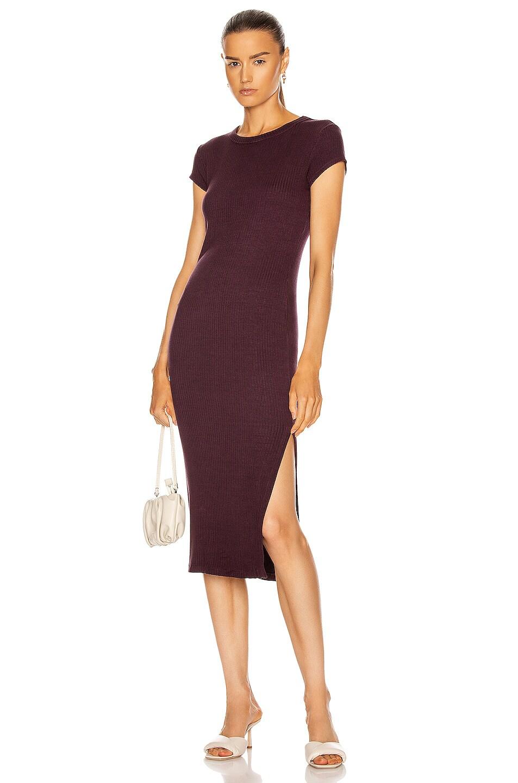 Image 1 of Enza Costa for FWRD Cap Sleeve Slit Midi Dress in Dark Plum