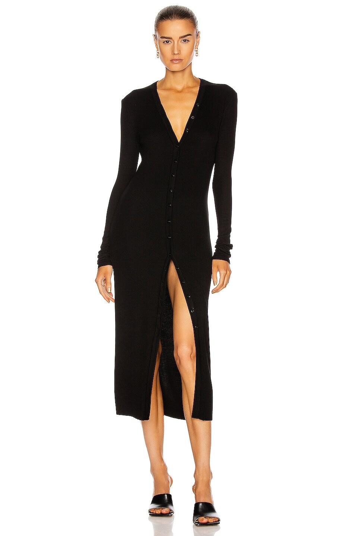 Image 1 of Enza Costa for FWRD Silk Rib Cardigan Midi Dress in Black