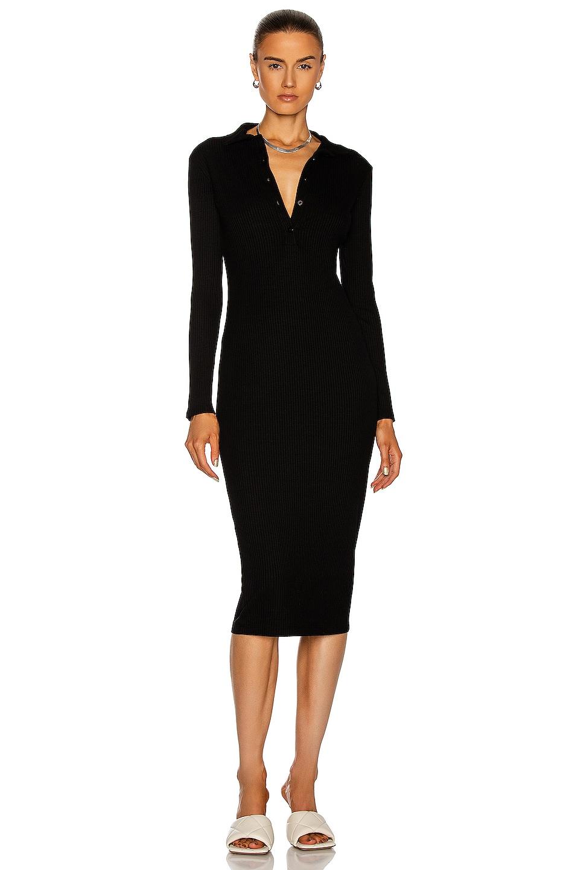 Image 1 of Enza Costa Rib Knee Length Polo Dress in Black