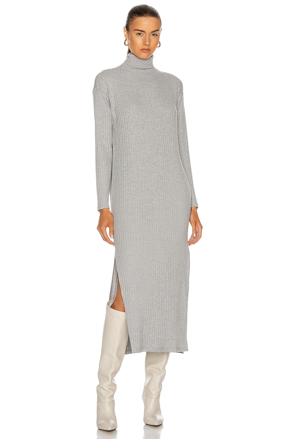 Image 1 of Enza Costa Sweater Rib Turtleneck Sheath Dress in Heather Grey