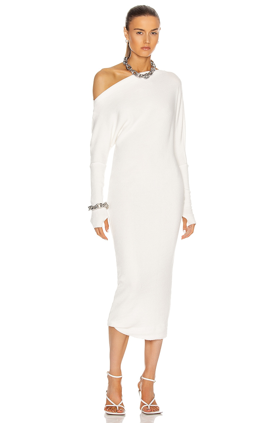 Image 1 of Enza Costa Sweater Knit Slouch Dress in Winter White