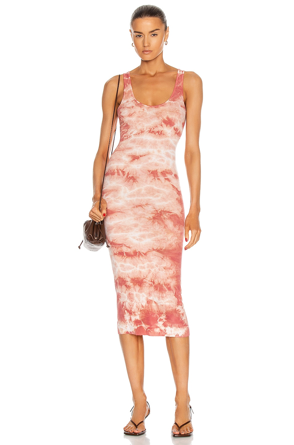 Image 1 of Enza Costa Silk Rib Tank Midi Dress in Adobe Ionic