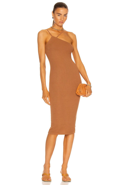 Image 1 of Enza Costa for FWRD Silk Rib Strappy Asymmetric Midi Dress in Brass