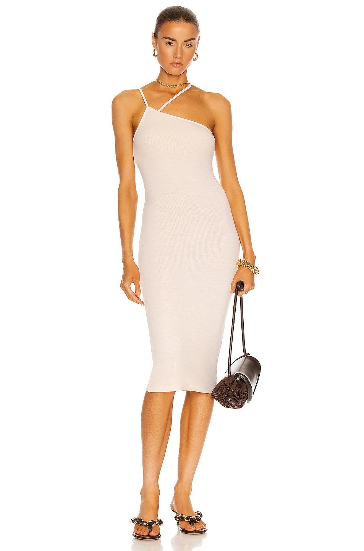 Image 1 of Enza Costa for FWRD Silk Rib Strappy Asymmetric Midi Dress in Natural
