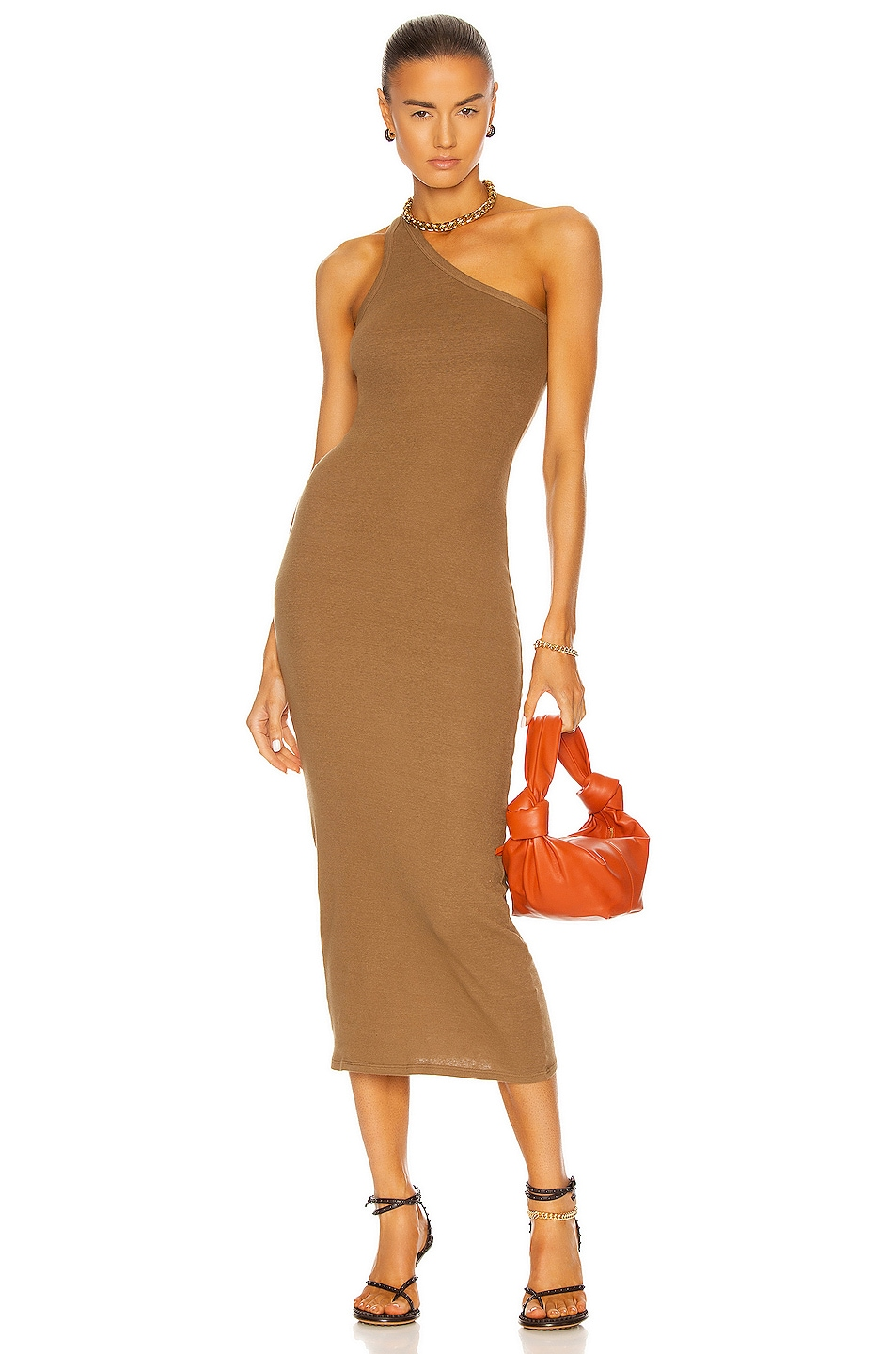 Image 1 of Enza Costa Recycled Rib One Shoulder Maxi Dress in Fatigue