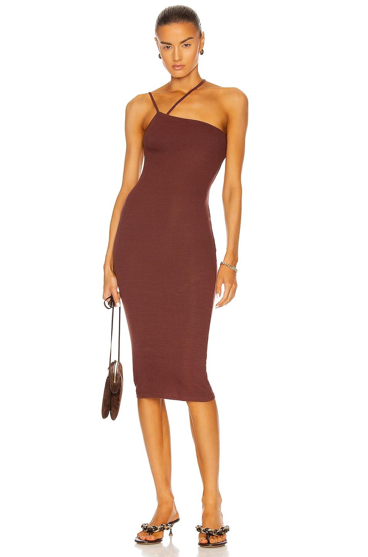 Image 1 of Enza Costa for FWRD Silk Rib Strappy Asymmetrical Midi Dress in Sienna
