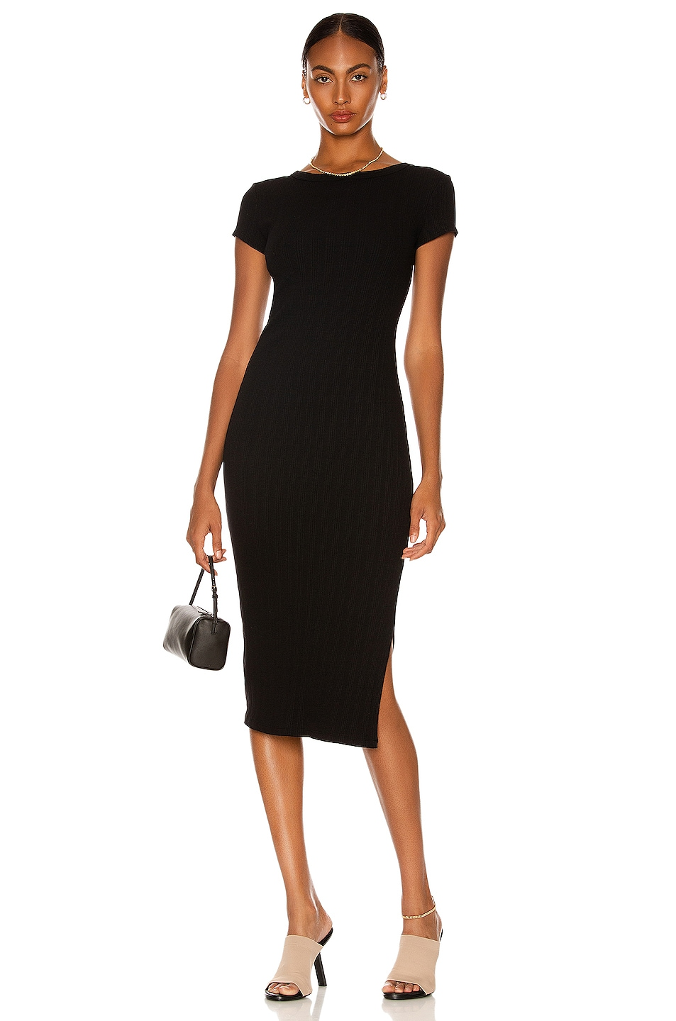 Image 1 of Enza Costa Compact Cotton Rib Cap Sleeve Dress in Black