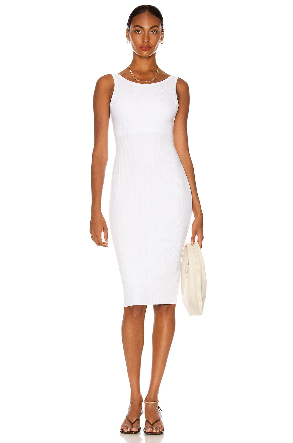Image 1 of Enza Costa Compact Cotton Rib Scoop Back Dress in White