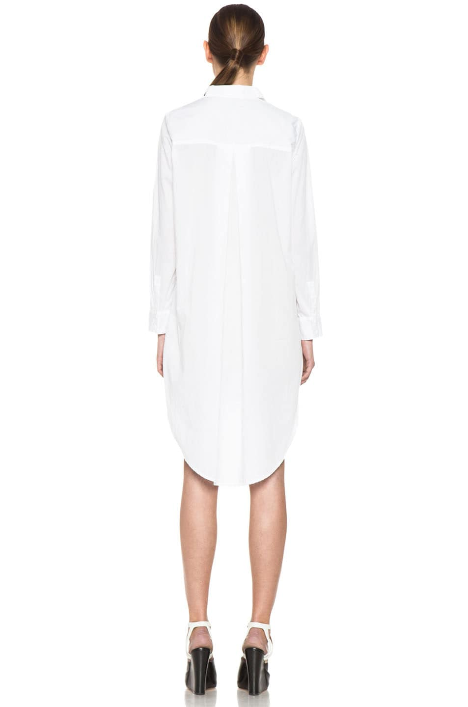 Enza Costa Long Sleeve Shirt Dress in White | FWRD