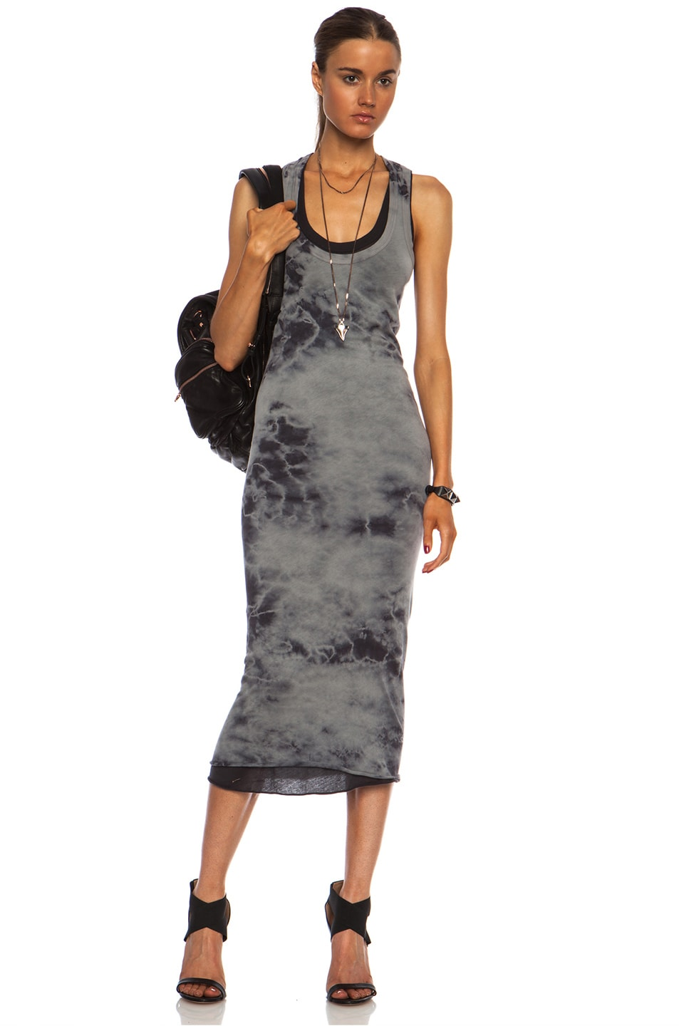 fc6d6bc479e8 Image 1 of Enza Costa Doubled Tank Pima Cotton Dress in Steel & Phantom  Black