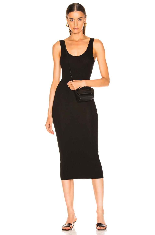 Matte Jersey Back Twist Midi Dress in Black. - size L (also in M,S,XS) Enza Costa