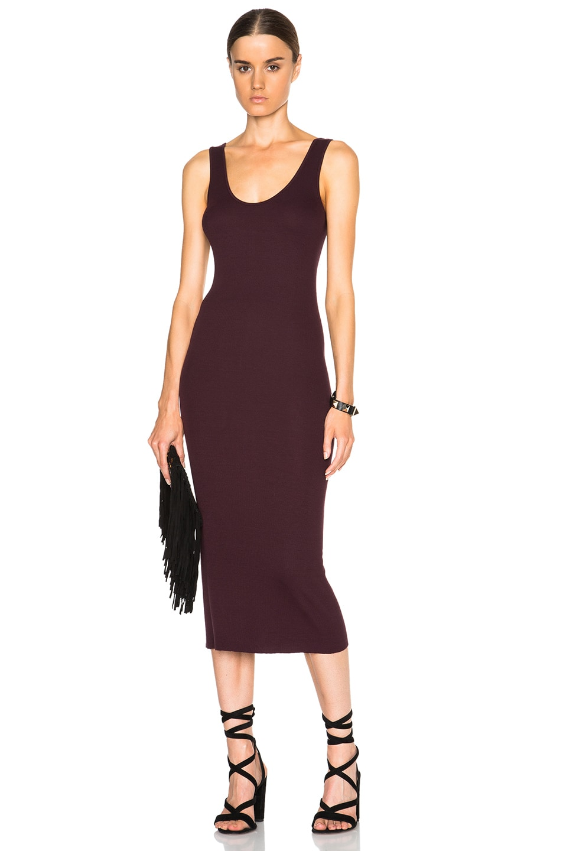 Image 1 of Enza Costa Rib Tank Dress in Dark Burgundy