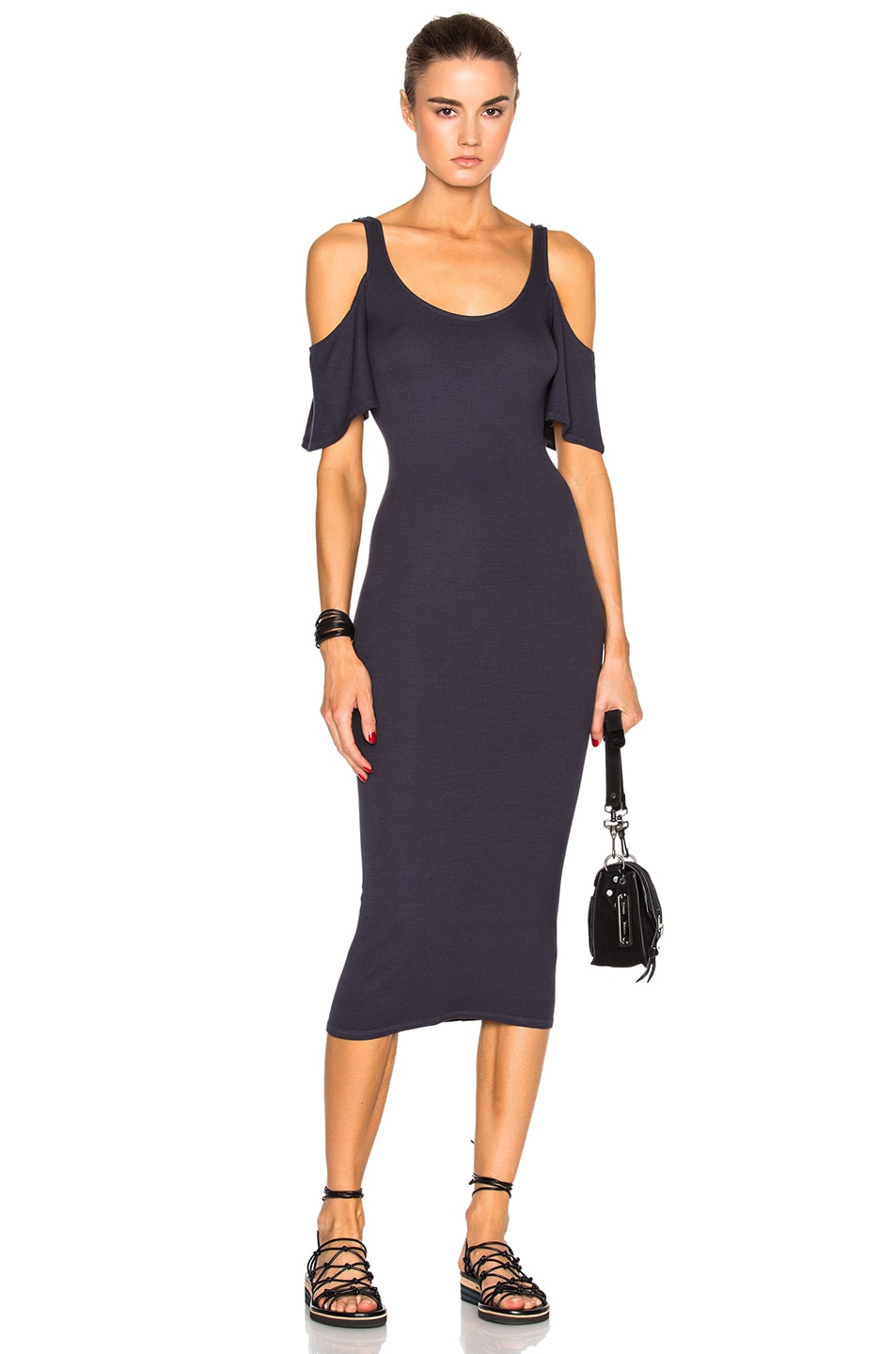 Image 1 of Enza Costa Rib Flutter Sleeve Dress in Tempest