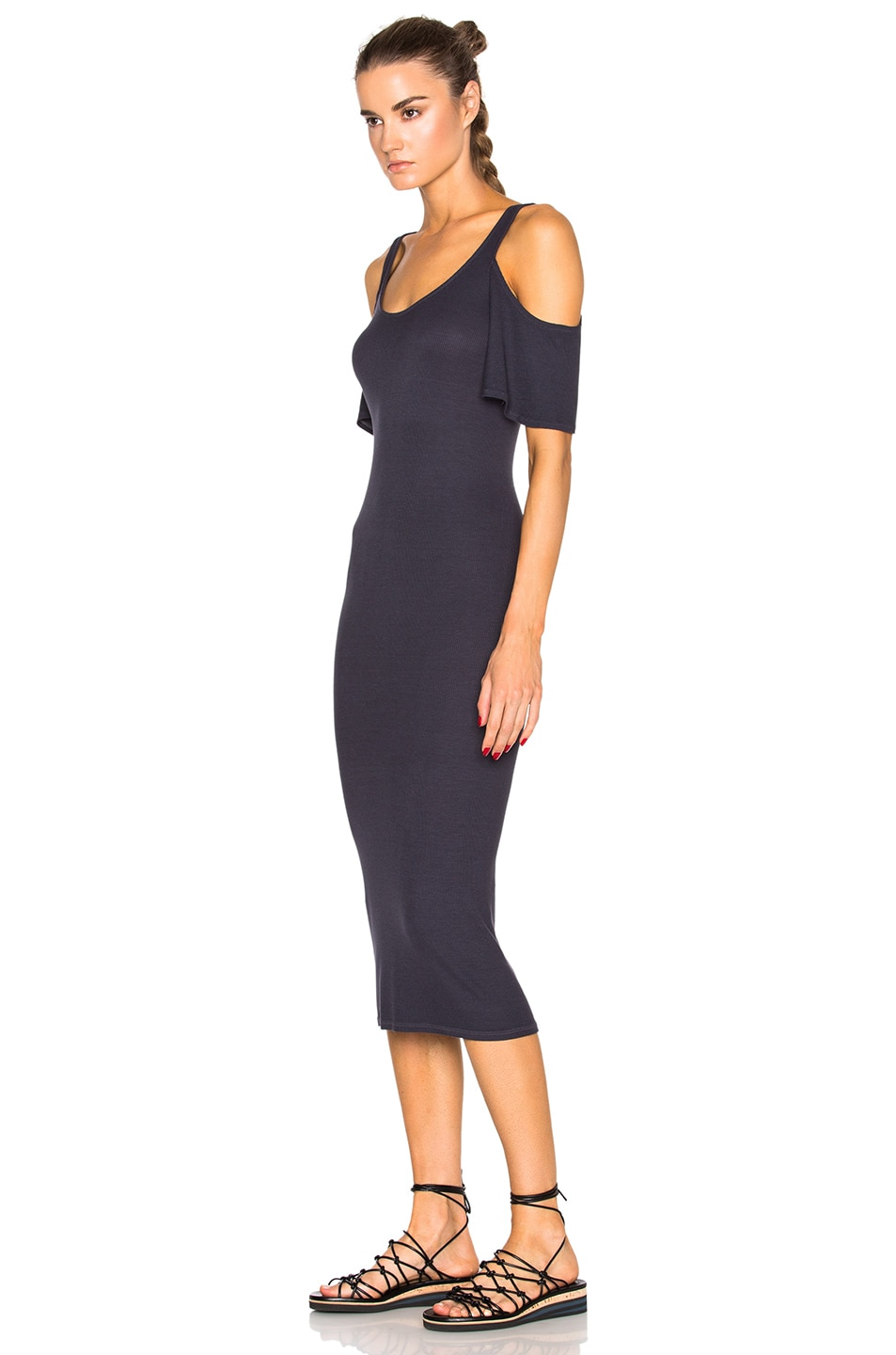 Image 2 of Enza Costa Rib Flutter Sleeve Dress in Tempest