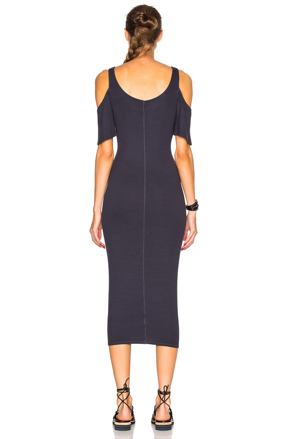 Image 4 of Enza Costa Rib Flutter Sleeve Dress in Tempest