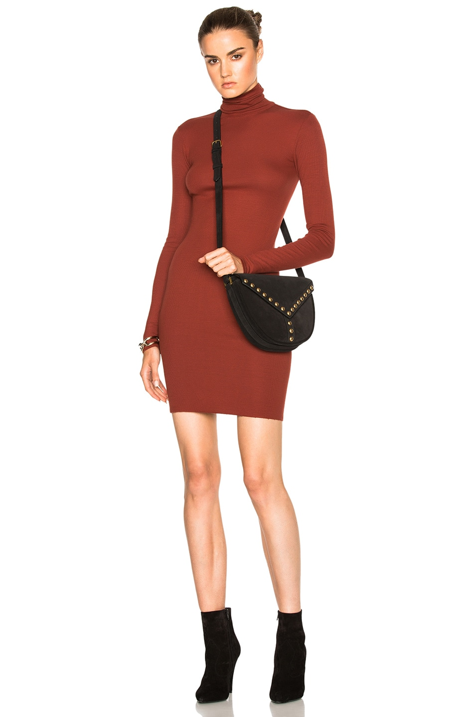 Image 1 of Enza Costa Turtleneck Midi Dress in Russet