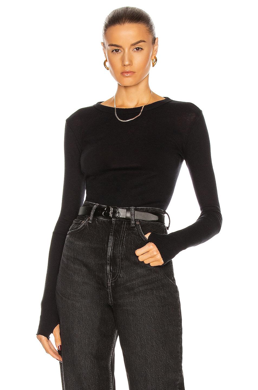 Image 1 of Enza Costa Cuffed Crew Cashmere-Blend Sweater in Black