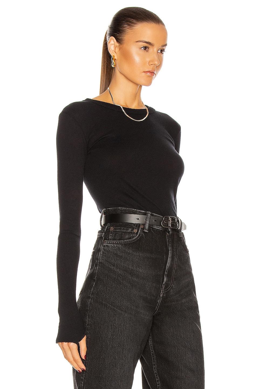 Image 2 of Enza Costa Cuffed Crew Cashmere-Blend Sweater in Black