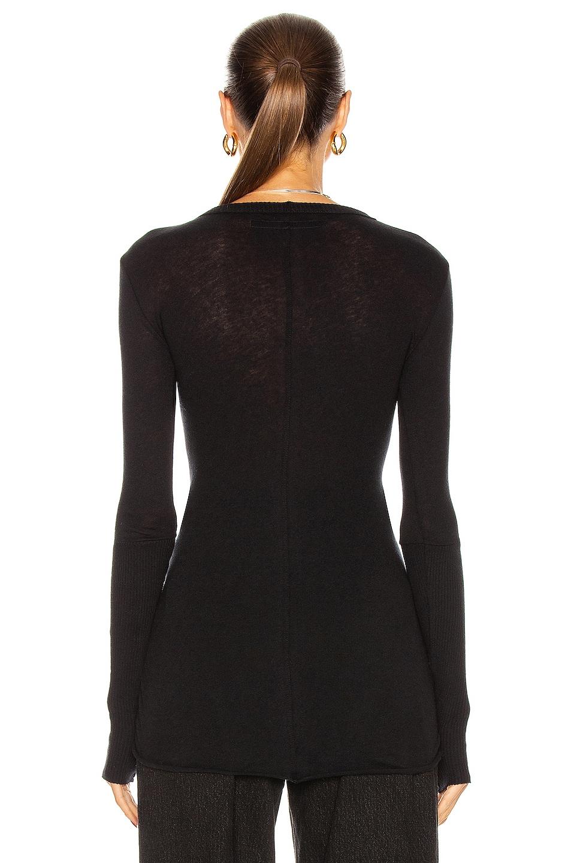 Image 3 of Enza Costa Cuffed Crew Cashmere-Blend Sweater in Black