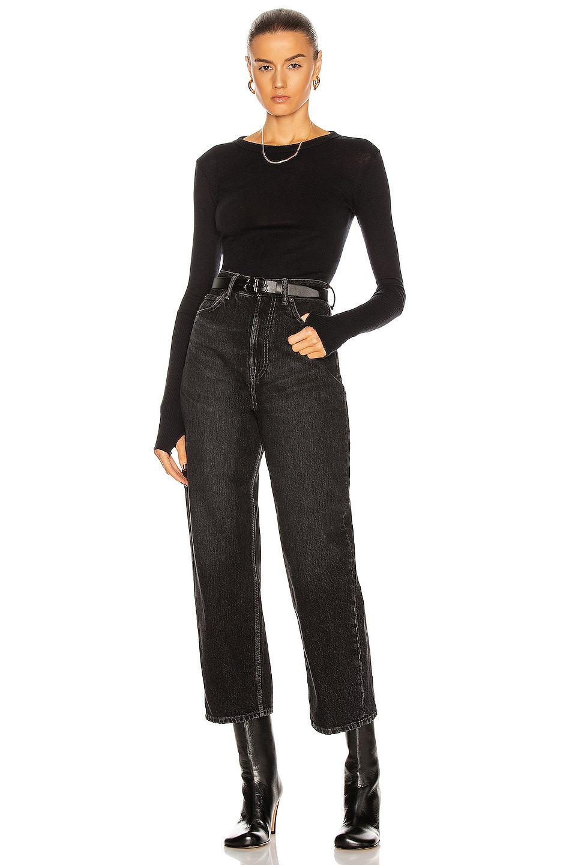 Image 4 of Enza Costa Cuffed Crew Cashmere-Blend Sweater in Black
